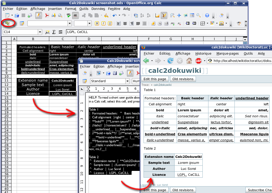 Calc2Dokuwiki | Apache OpenOffice Extensions